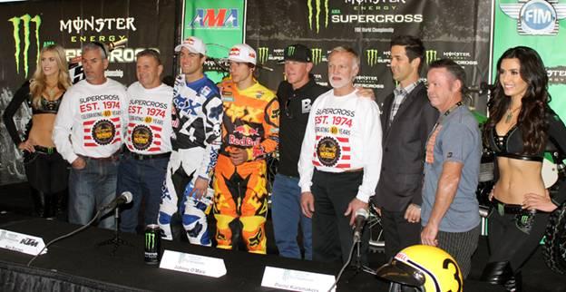 Left to right: Donnie Hansen, Jimmy Ellis, Red Bull KTM Ryan Dungey, Red Bull KTM Ken Roczen, Johnny O'Mara, Pierre Karsmakers, Jeff Emig and Jeff Ward