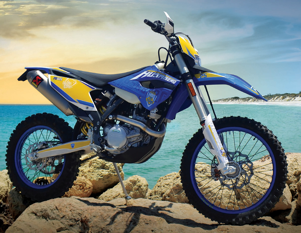 Proud of your page in the history of Husaberg? What better way to shout about it than with a 25th anniversary Four Stroke Force graphics and accessory kit, available for 2014 FE350, FE450 and FE501 Husabergs for a limited time.