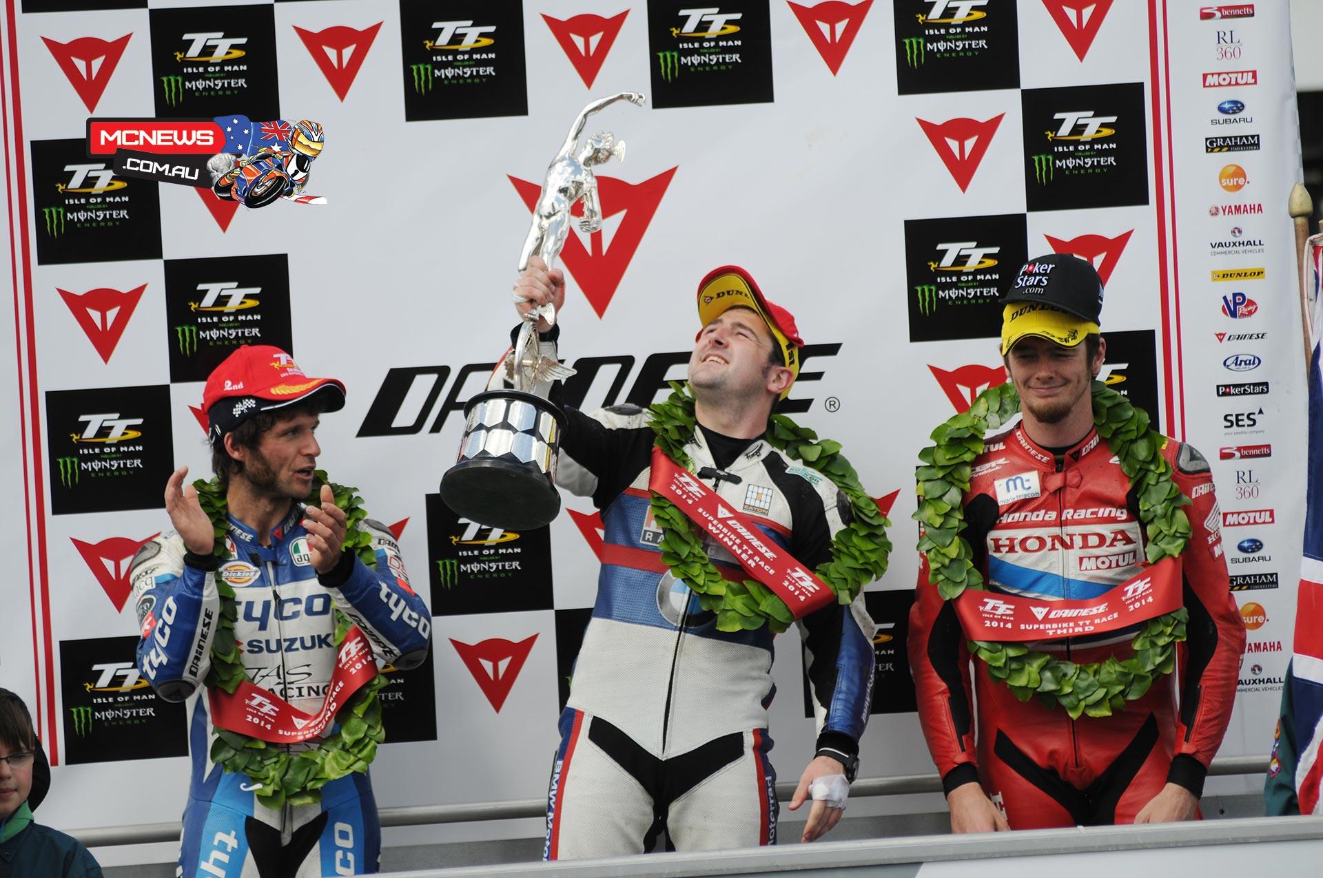 IOM TT 2014 Superbike TT Podium. Michael Dunlop (1st), Guy Martin (2nd), Conor Cummins (3rd).