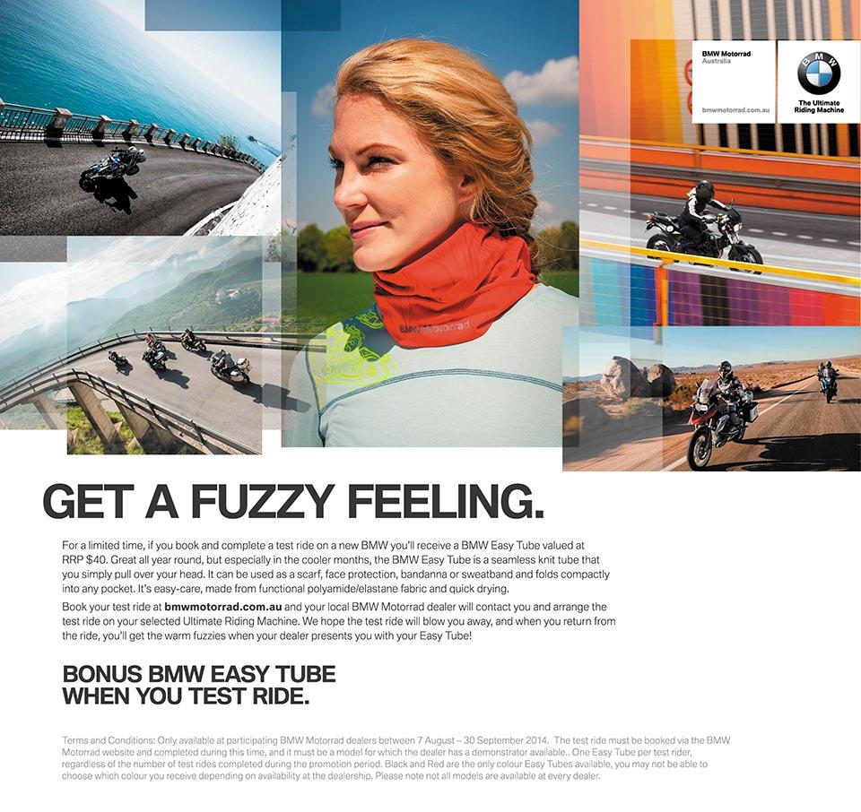 Advert - BMW Test Ride Neck Warmer