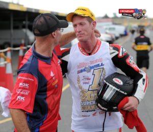 Paul Free with 2014 Swann Australasian Superbike Champion Wayne Maxwell at Eastern Creek