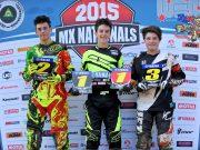 MXd Podium (L-R) 2nd - Wade Kirkland ; 1st - Hunter Lawrence ; 3rd - Cody Dyce - MX Nationals / Round 2 / MX1 - Australian Motocross Championships - Appin NSW - Sunday 12 April 2015