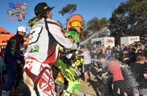 MX1 Podium Murray Bridge MX Nationals 2015 - MX1 Rd4 podium (L-R) 2nd - Adam Monea / Kawasaki ; 1st - Kirk Gibbs / KTM ; 3rd - Dan Reardon / Yamaha MX Nationals / Round 4 / MX1 Australian Motocross Championships Murray Bridge SA Sunday 17 MAY 2015