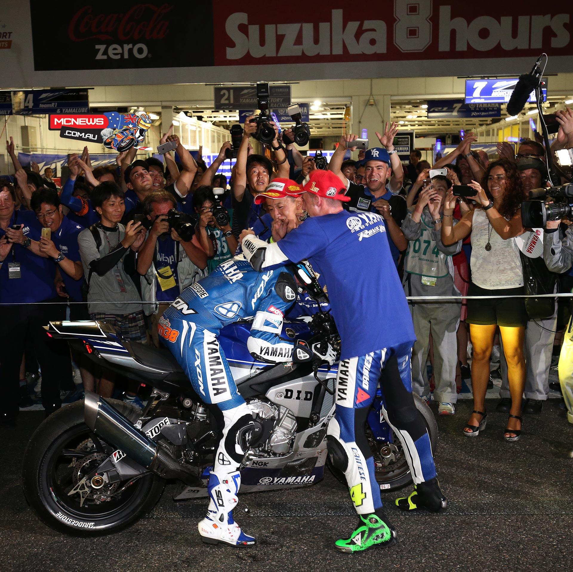 Katsuyuki Nakasuga and Pol Espargaro with Bradley Smith in Parc Ferme Suzuka 8 Hours 2015