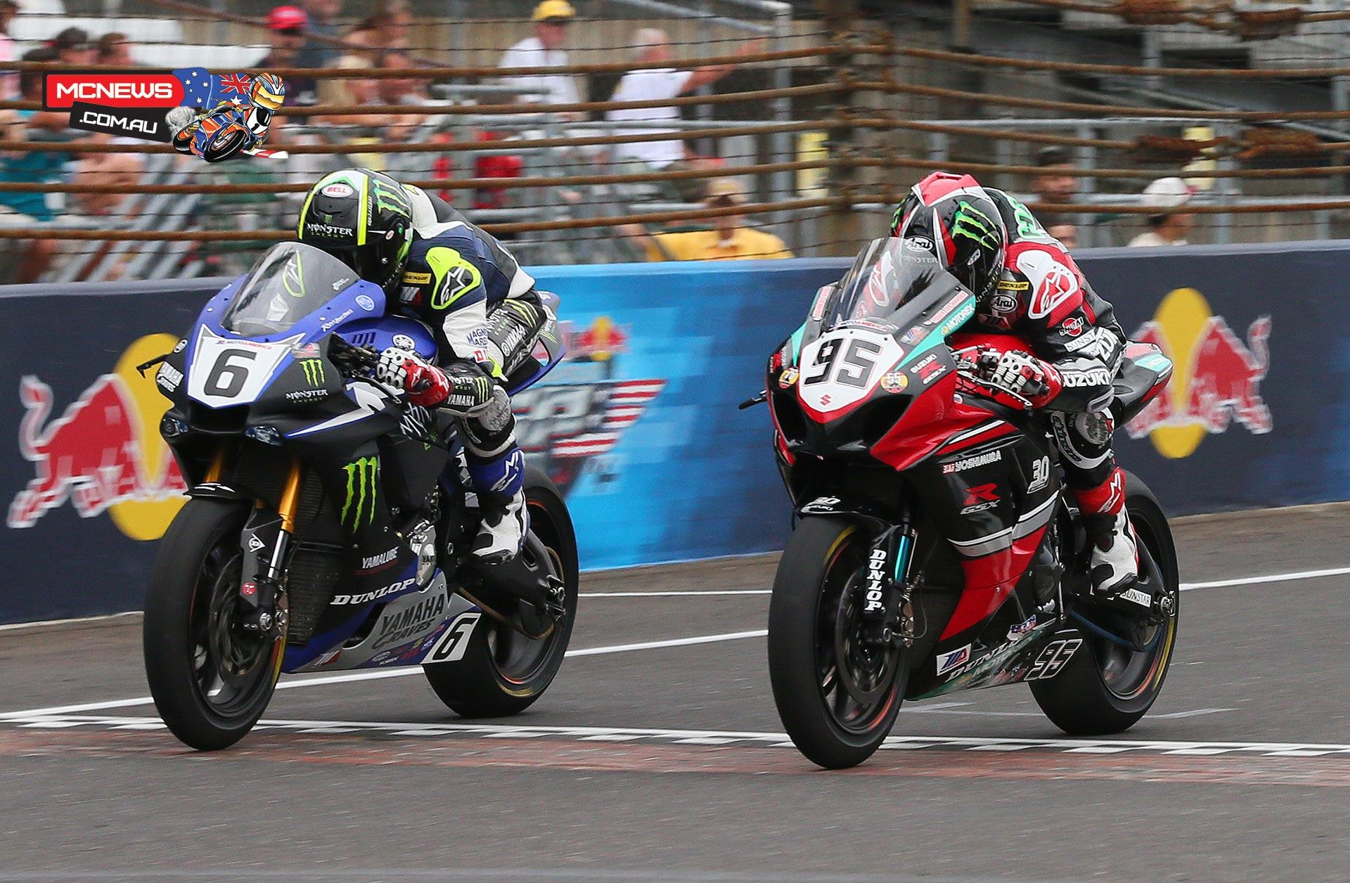 MotoAmerica - Indy Superbike - Cam Beaubier leads Roger Hayden