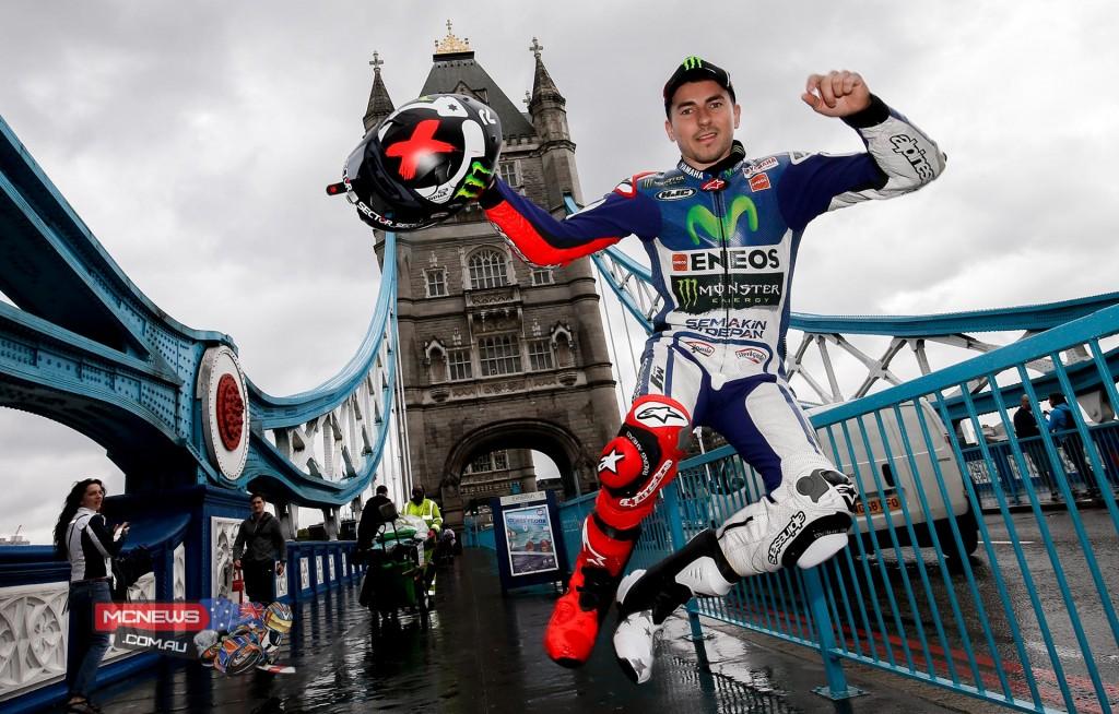 Jorge Lorenzo on London's Tower Bridge