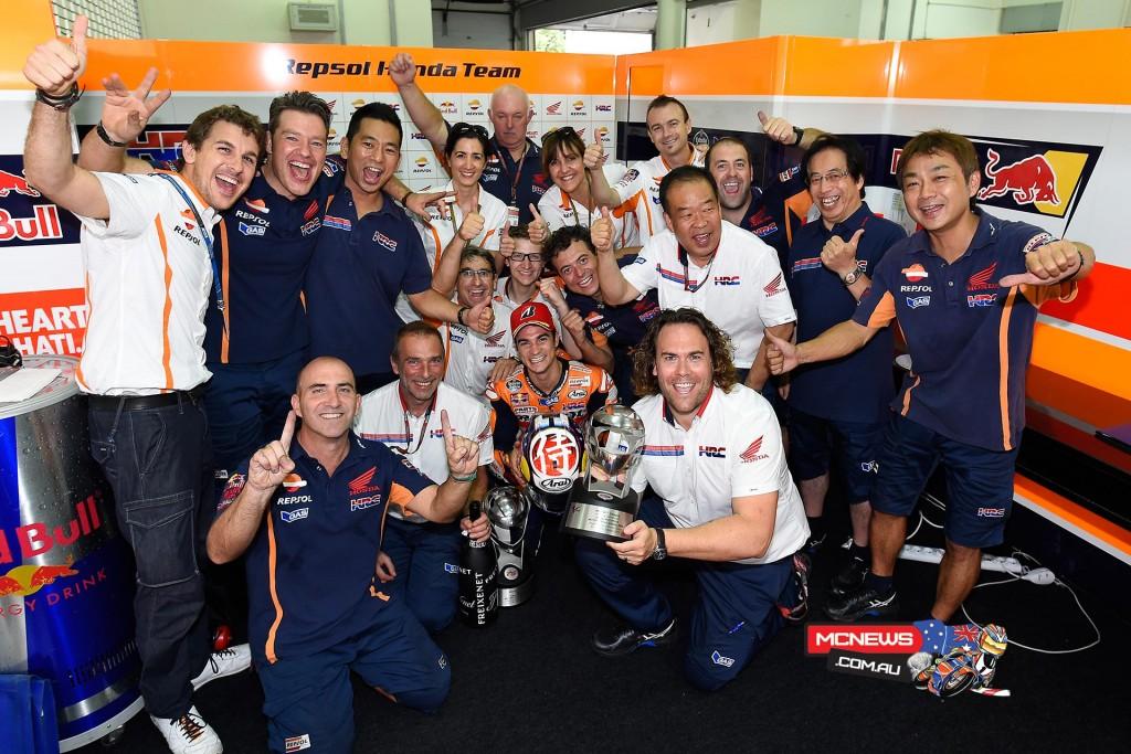 Dani Pedrosa celebrates Sepang MotoGP Victory with Team Repsol HRC