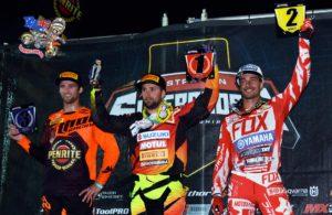 SX1 Podium: L-R Gavin Faith (3rd), Matt Moss (1st) and Dan Reardon (2nd) share the spoils atop the SX1 podium at 2015 Australian Supercross Championship opening round at Bathurst, NSW.