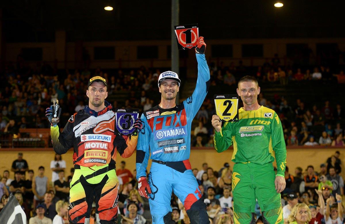 Adelaide Supercross - SX1 Podium - Dan Reardon won from Brett Metcalfe and Matt Moss