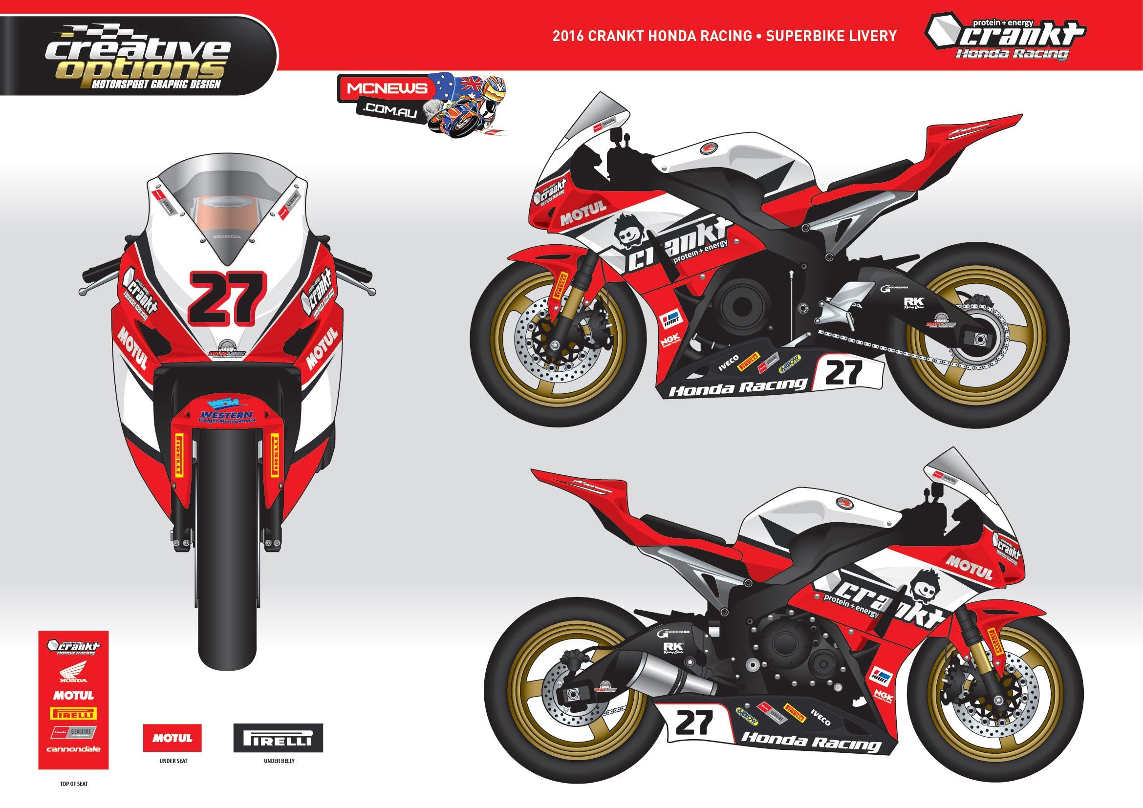 Crankt Team Honda Racing - Superbike Graphics 2016