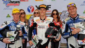 ASBK 2016 -Morgan Park - Superbike Race Two - Image by Keith Muir - Round Podium - Troy Herfoss 1st - Wayne Maxwell 2nd - Glenn Allerton 3rd
