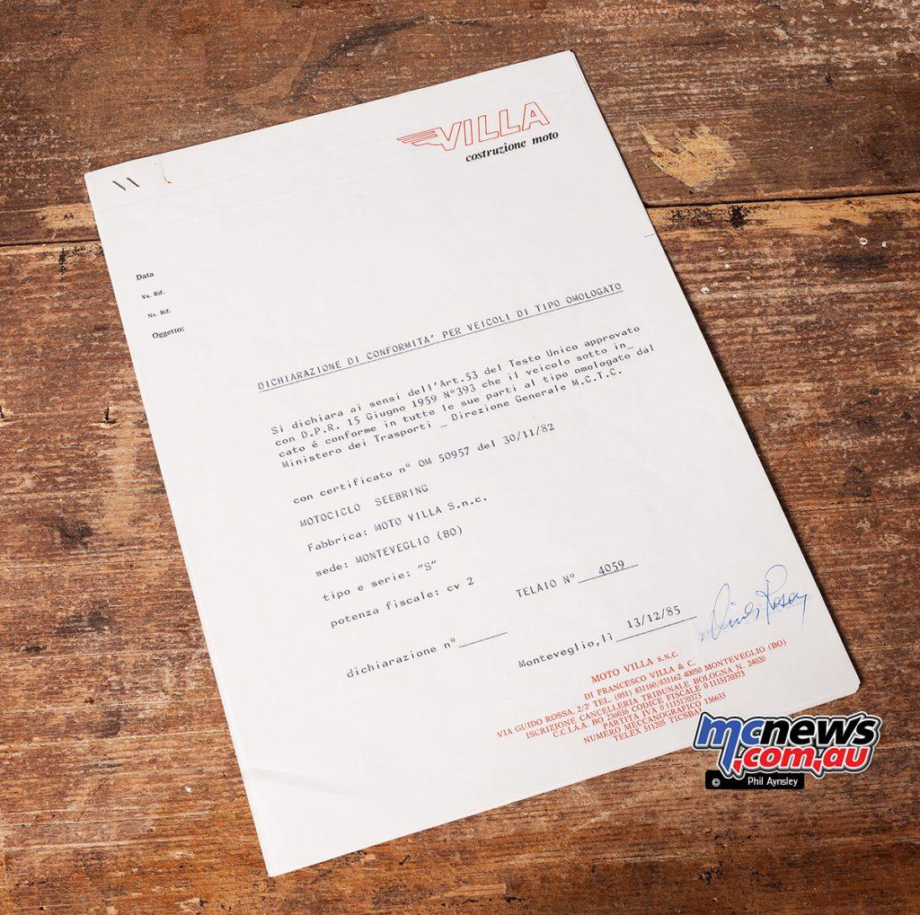 1987 Villa 125 Seebring homologation paperwork.