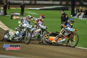 2016 Speedway GP Melbourne- Michael Jensen leads Chris Holder