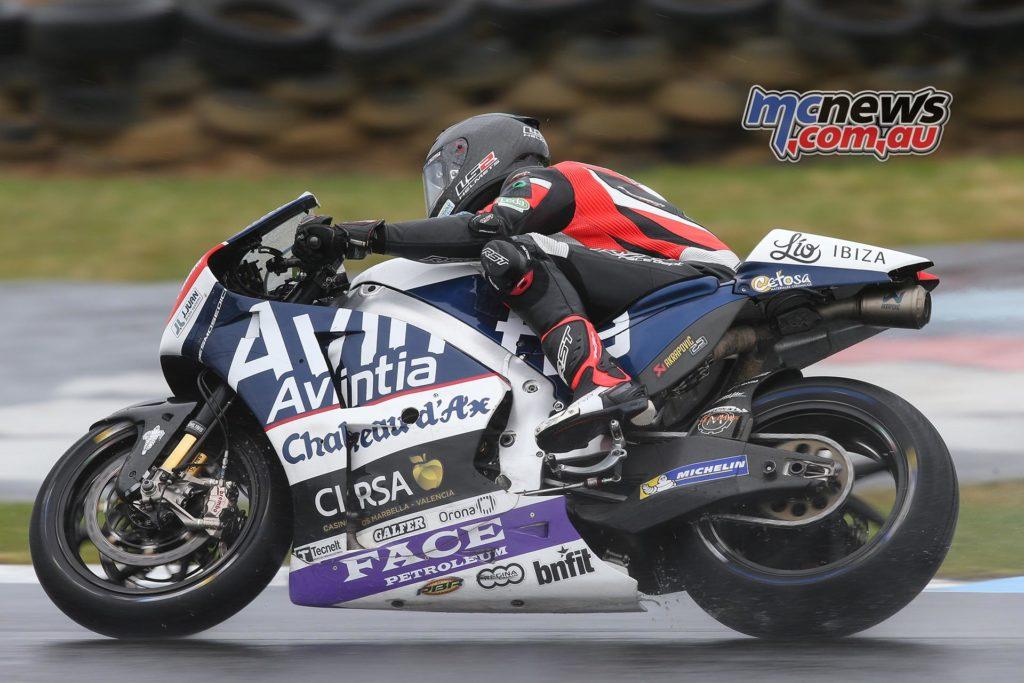 Mike Jones experiences at wet Phillip Island on the Avintia Ducati