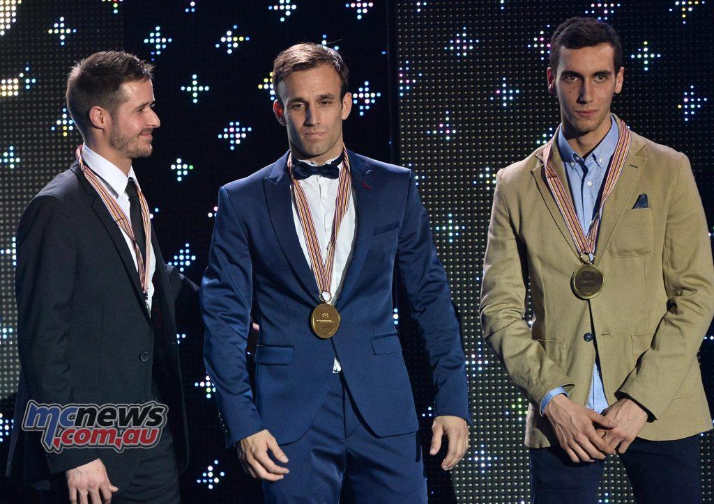 2016 Moto2 World Champion Johann Zarco (center) with Thomas Lüthi (L) and Alex Rins (R)