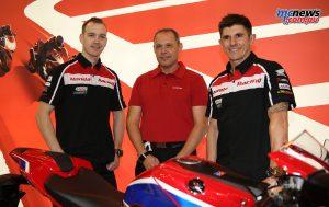 Honda Racing's Dan Linfoot, Havier Beltran (Team Manager) and Jason O'Halloran
