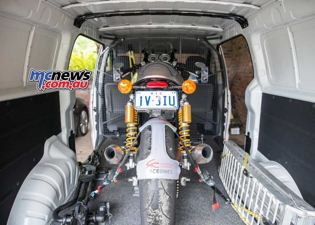 Securing the rear of the motorcycle securely and holding it forward into the ACEBIKES Steady Stand is the ACEBIKES TyreFix system.