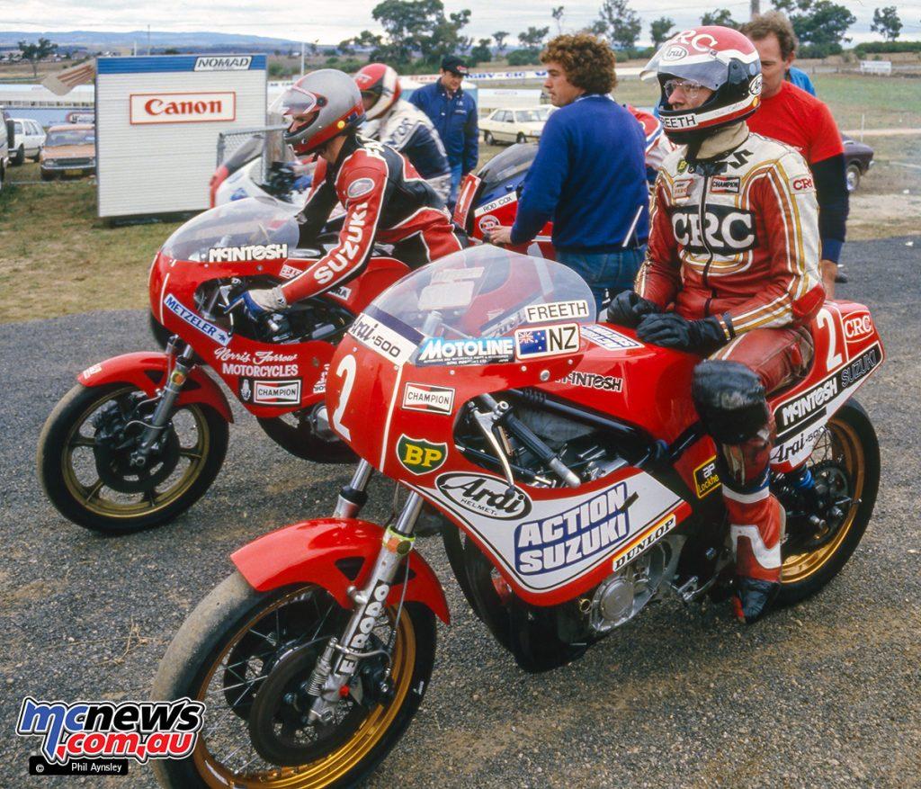 Bathurst 1984 - Roger Freeth (2) and team mate Norris Farrow (1) on their McIntosh Suzuki 1000s.