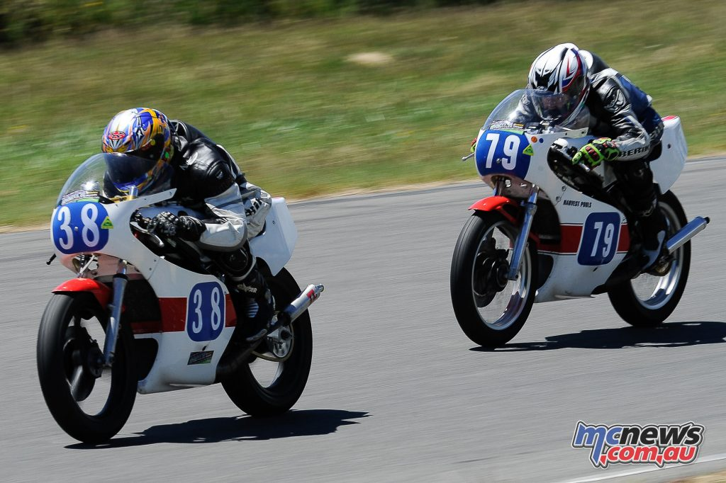 Australian Historic Road Racing Championships 2016 - Image by Colin Rosewarne - Peter Hinton leads Stephen Kairl - Yamaha TZ350