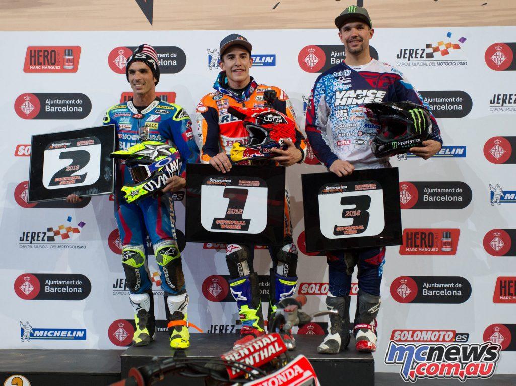 2016 Superprestigio - Marc Marquez Champion, Toni Elias runner up, Brand Binder third