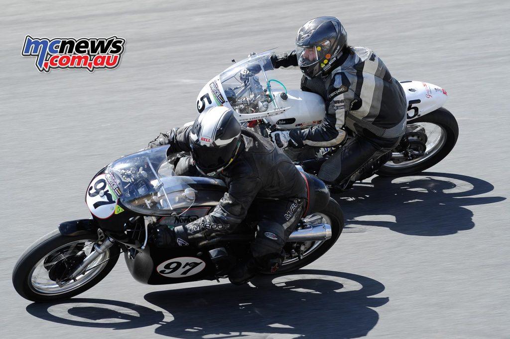 Australian Historic Road Racing Championships 2016 - Image by Colin Rosewarne - Garth Francis (Norton 750), leading Ivan Hoey (Yamaha XS2)