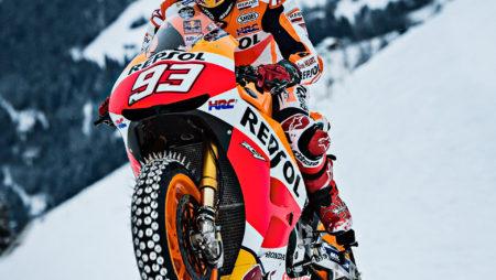 Marc Marquez rides the snow on RC-213V MotoGP