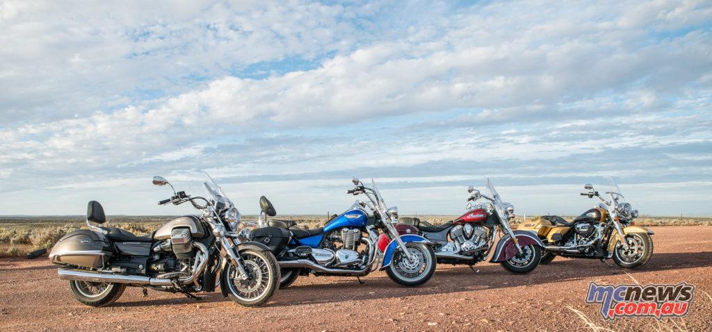 Harley-Davidson Road King, Indian Springfield, Triumph Thunderbird LT and Moto Guzzi California Touring