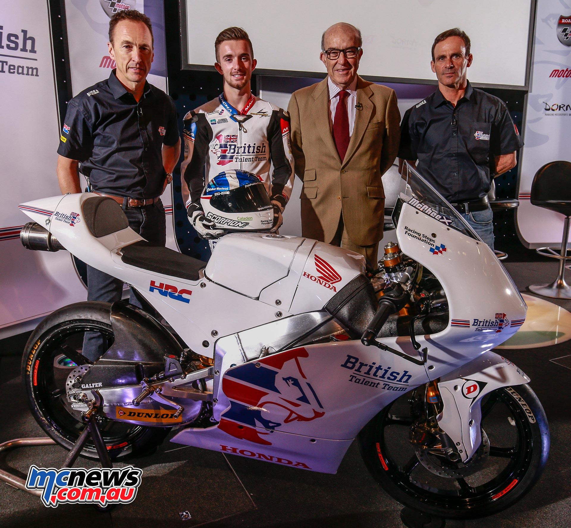 (L-R) Jeremy McWilliams, John McPhee, Carmelo Ezpeleta and Alberto Puig