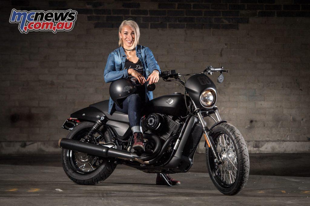 Harley brand ambassafor, BMX Champion Caroline Buchanan with her Street 500