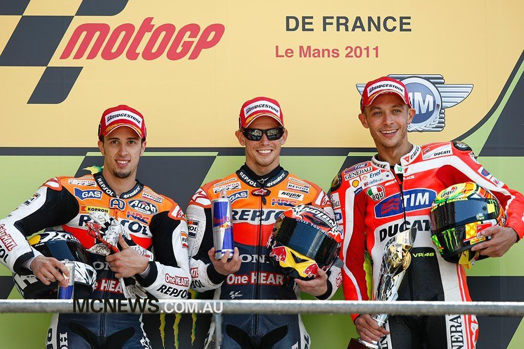 The Le Mans MotoGP podium at Le Mans in 2011
