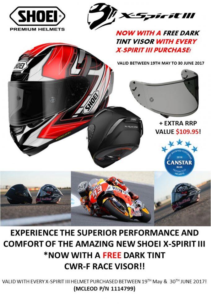 Shoei X Spirit-III Helmet Promotion - With a free Dark Tint Visor valued at $109.95 until June 30
