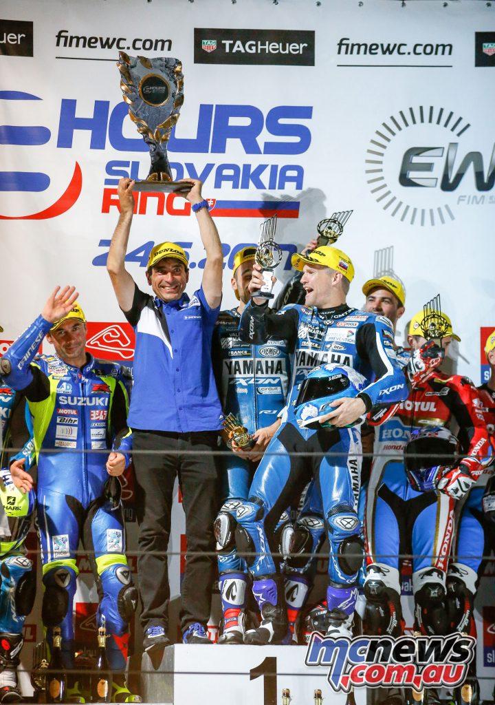 GMT94 Yamaha celebrating on the podium
