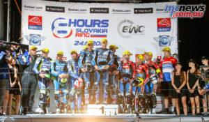 GMT94 Yamaha on the top step, Suzuki Endurance Racing Team second, Honda Endurance Racing third