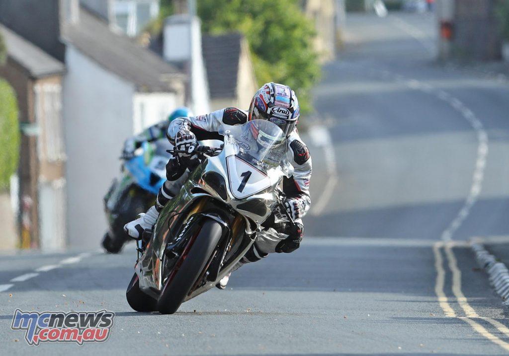David Johnson on the Norton during TT practice overnight