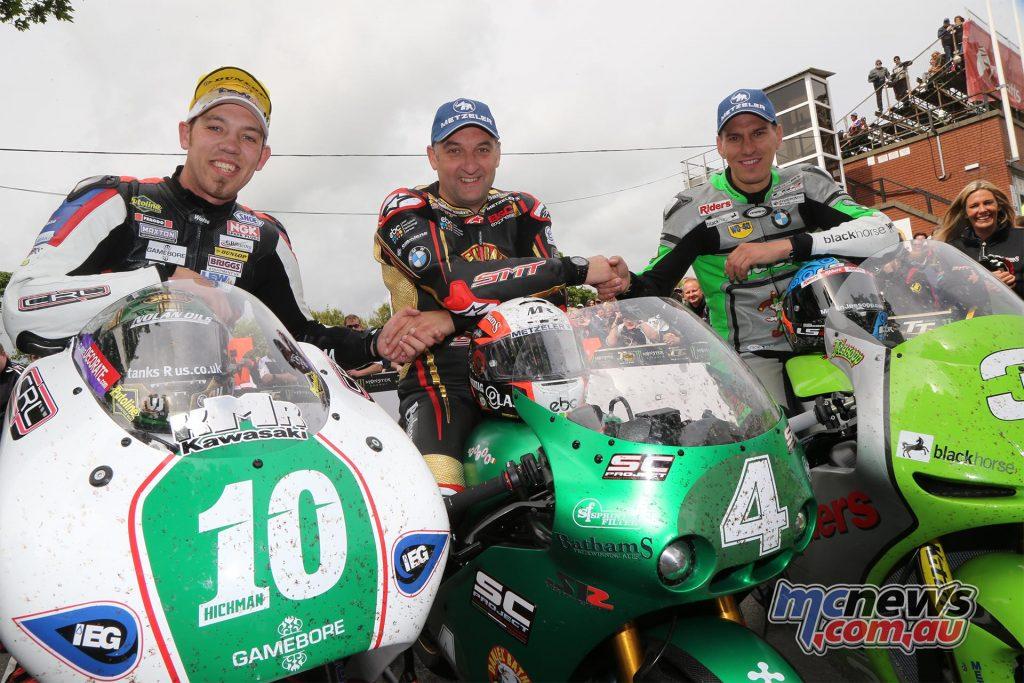 2017 Bennetts Lightweight Isle of Man TT Race winners' podium: Martin Jessopp, Michael Rutter and Peter Hickman