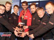 Pictured left to right are Josh Taylor (Norton), Dom Murfin (Norton), Sunni Wilson (Norton), Fabrizio D'Ottavi, Motul Associate Motorsport Manager, Johnny Cusack (Norton), Mick Grant (Norton), Ian Mackman (Norton).