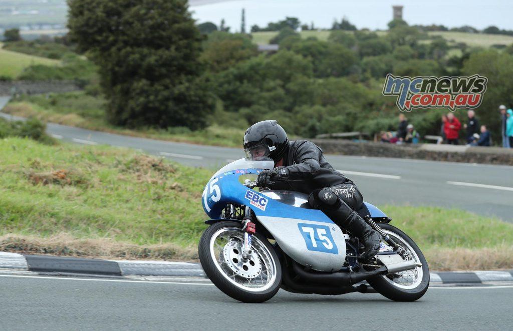 Winning 250cc machine in the Junior Classic TT race; Andy Wilson, Bob Jackson Racing. Dave Kneen
