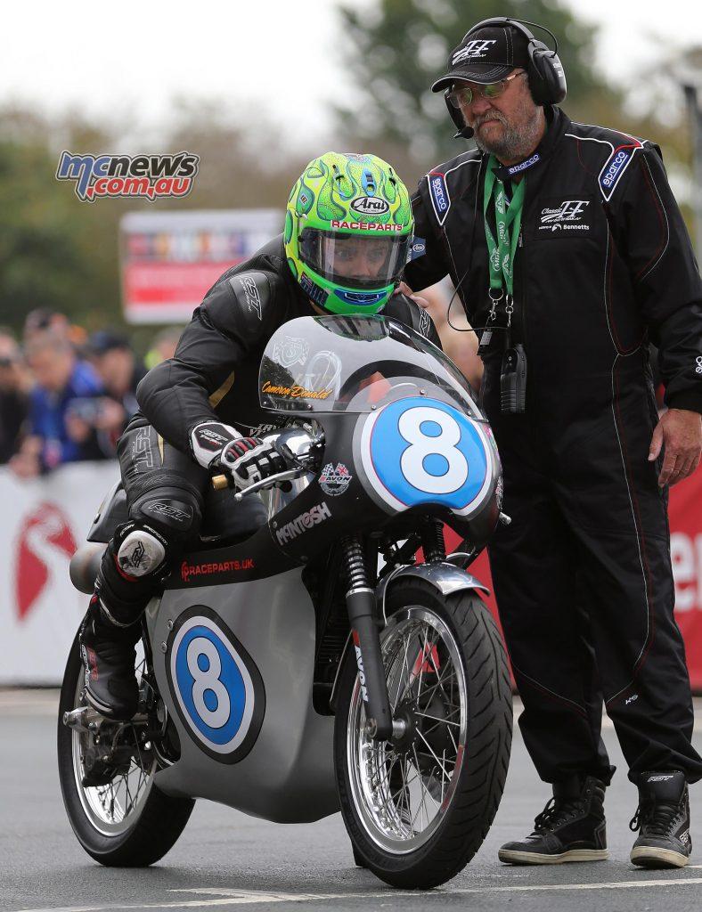 Cameron Donald on the McIntosh Racing New Zealand / Mr Pete Bloore Raceparts UK Ltd 350 Manx Norton. Stephen Davison