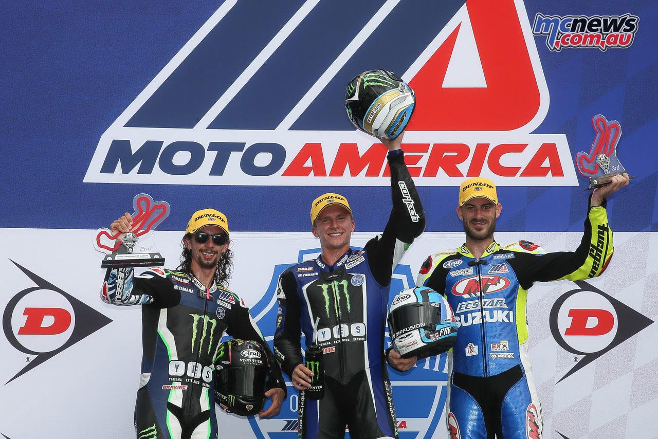 Hayden wins motoamerica race 1 scholtz wins race 2 for North hollywood honda yamaha suzuki