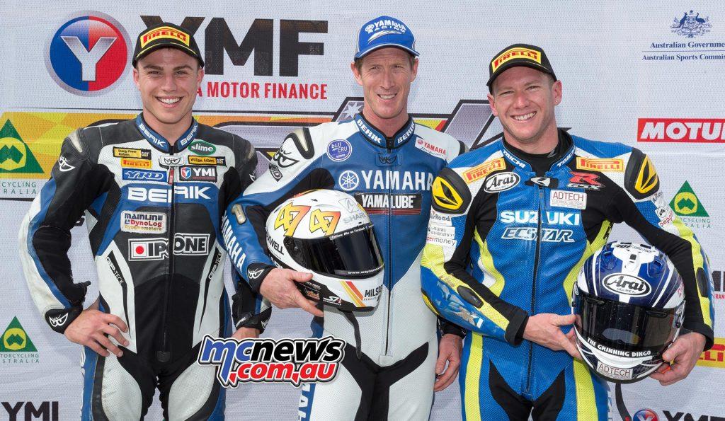 YMI Superbike Qualifying Wayne Maxwell 1m32.587 - Yamaha Daniel Falzon 1m32.600 - Yamaha Josh Waters 1m32.740 - Suzuki