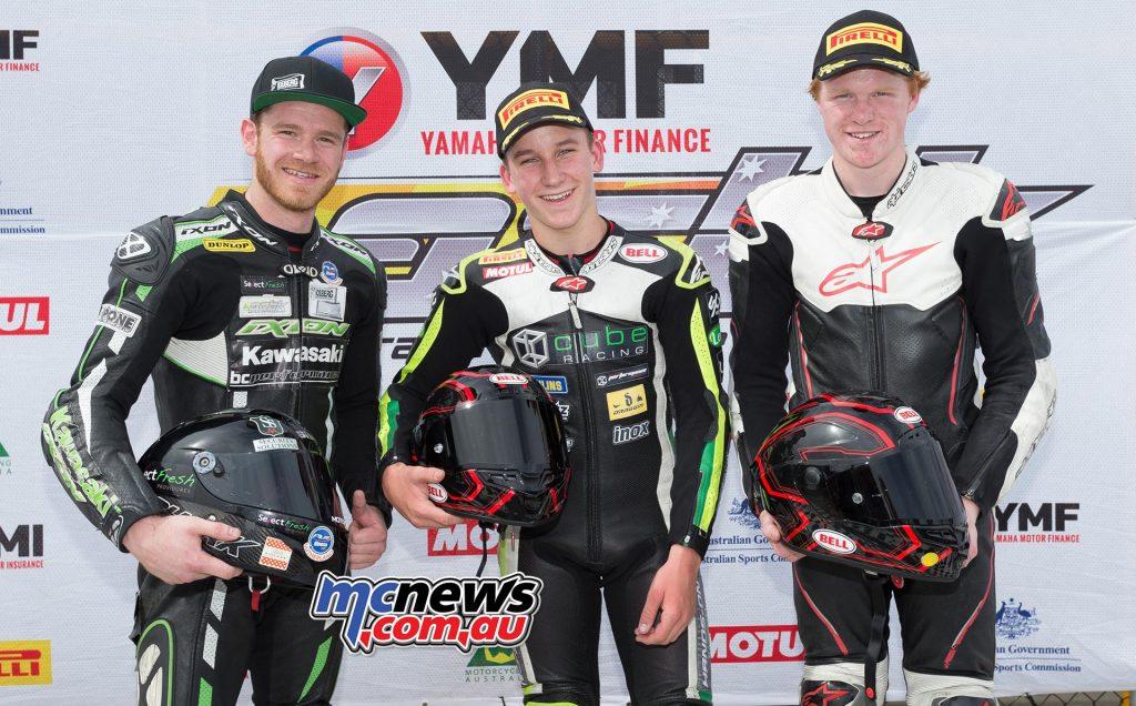 Supersport 300 Race One Results Oli Bayliss +0.184 - Kawasaki Yanni Shaw +14.244 - Kawasaki
