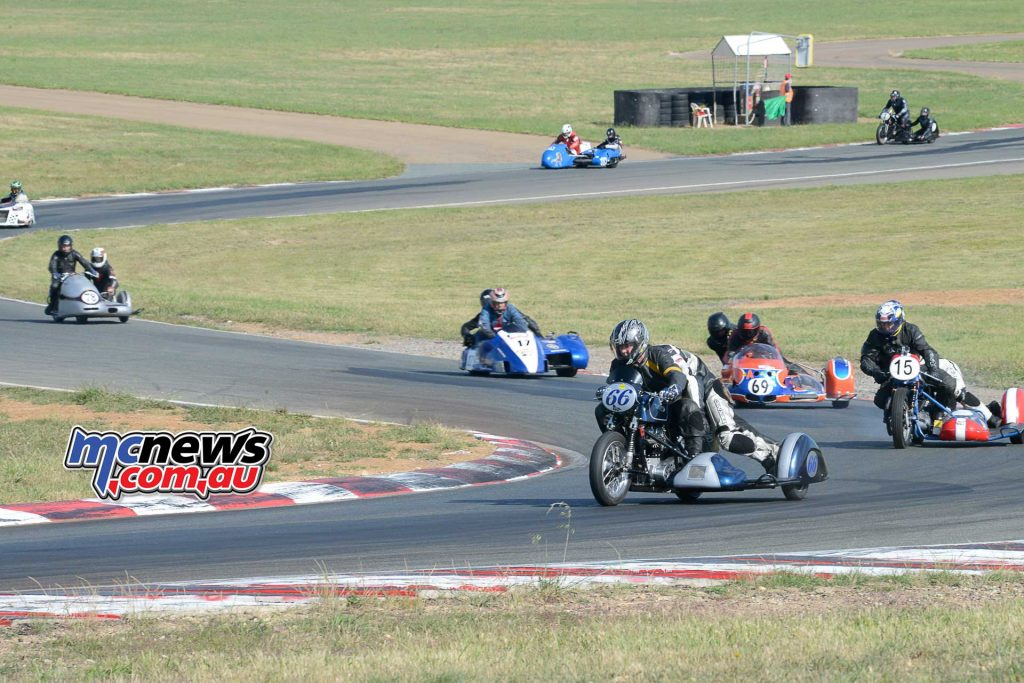 Geoff and Zane Dodds lead the combined side car race on Friday