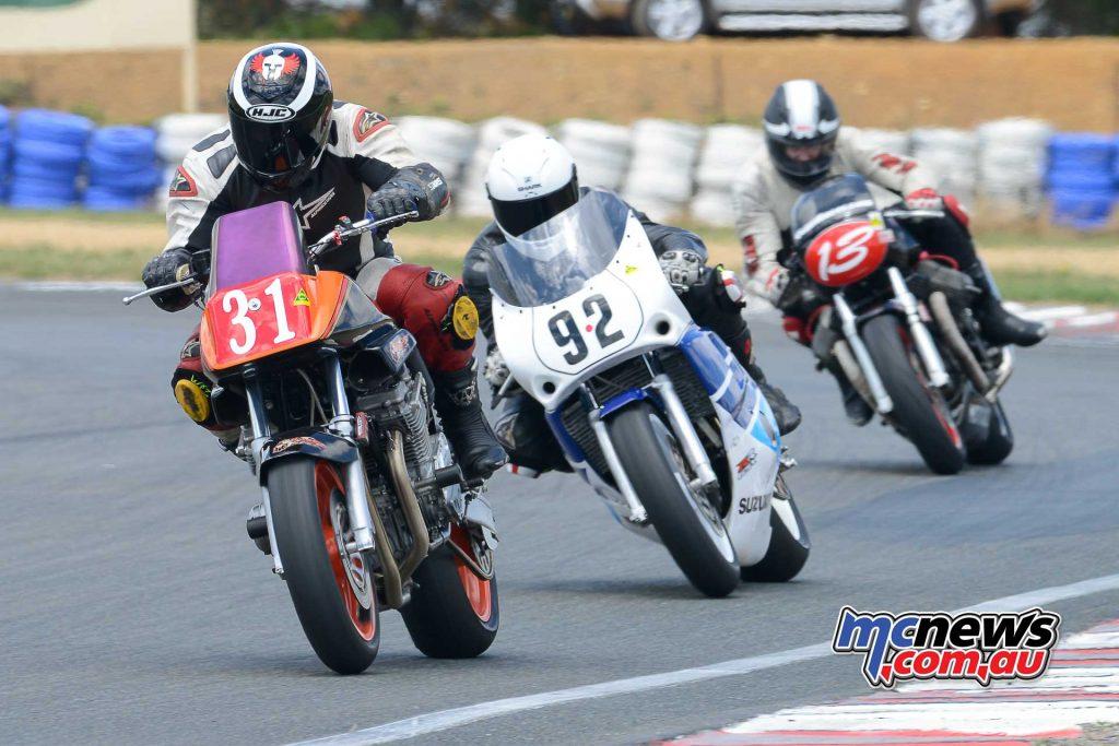 Martin Hodgson on his 1200 1980 Katana leads onto the front straight