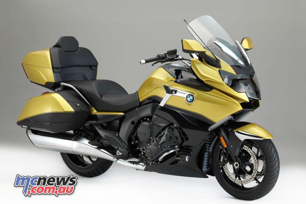 BMW's 2018 K 1600 Grand America in Blackstorm metallic/Austin Yellow metallic