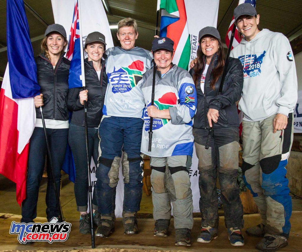 BMW Motorrad International GS Trophy Female Team Qualifying 2017. f.l.t.r.:Sonia Barbot (France), Julia Maguire (Australia), Ezelda van Jaarsveld (South Africa), Linda Steyn (South Africa), Jocelin Snow (USA), Bettina Nedel (USA).