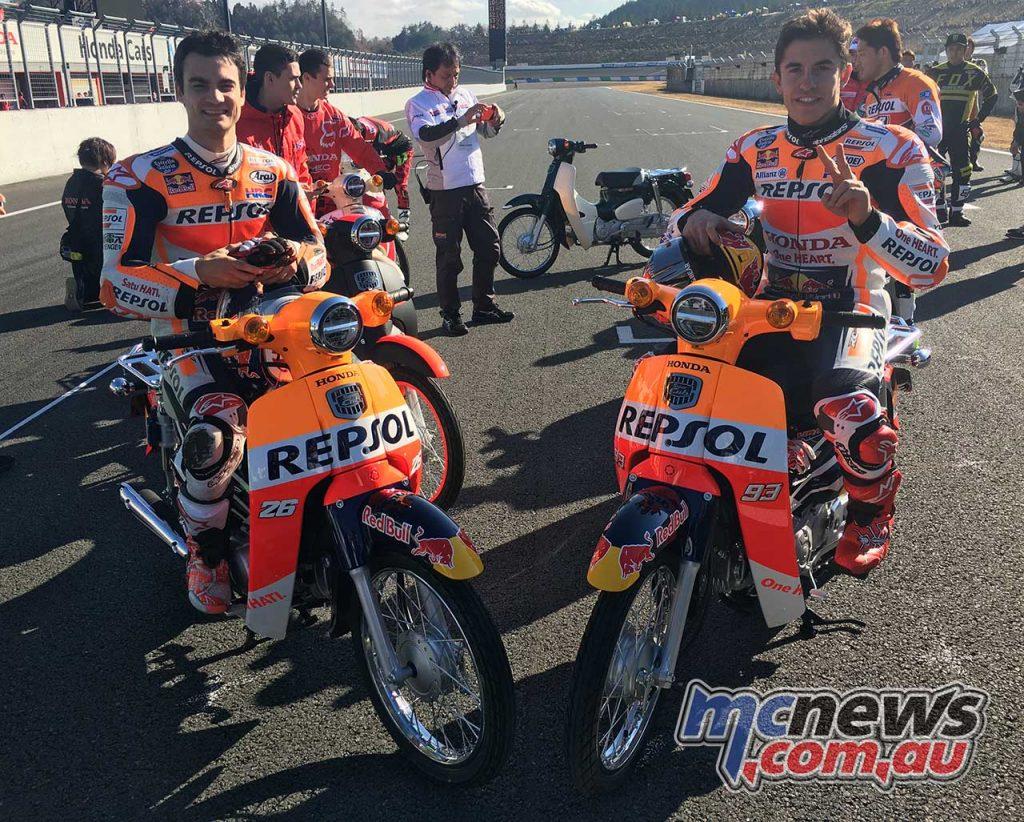 Dani Pedrosa and Marc Marquez on Honda Super Cubs