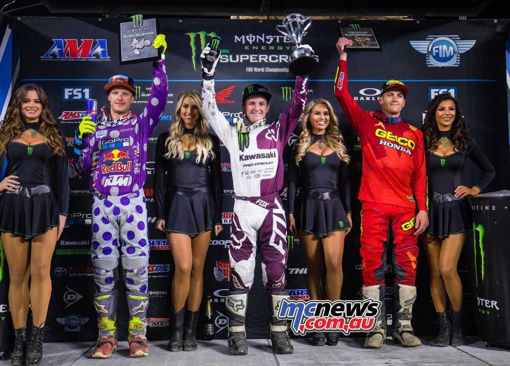 Western Regional 250SX Class Results Joey Savatgy, Thomasville, Ga., Kawasaki (1-2-1) Shane McElrath, Canton, N.C., KTM (5-1-4) Christian Craig, Orange, Calif. Honda (2-3-5)