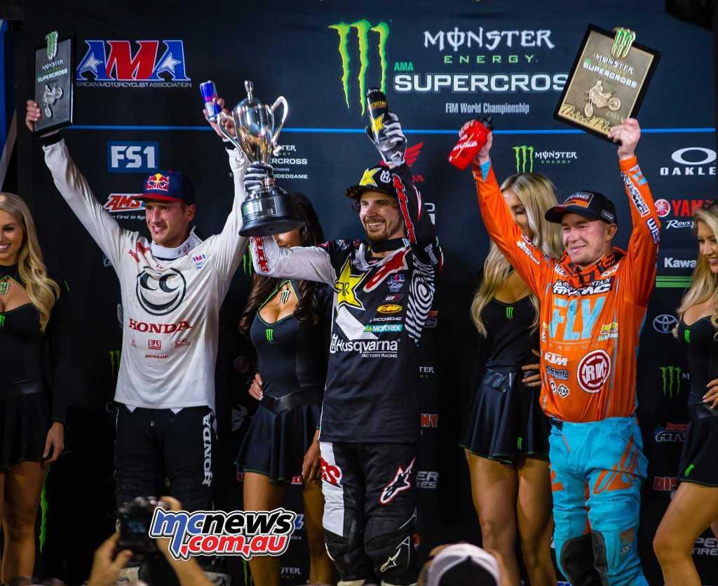450SX Class Results Jason Anderson, Husqvarna Ken Roczen, Honda Blake Baggett, KTM