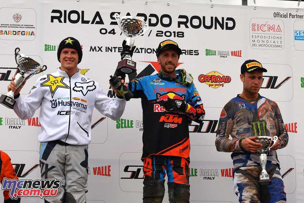 Tony Cairoli tops the Internazionali D'Italia Motocross Round 1 podium - Image by S. Taglioni