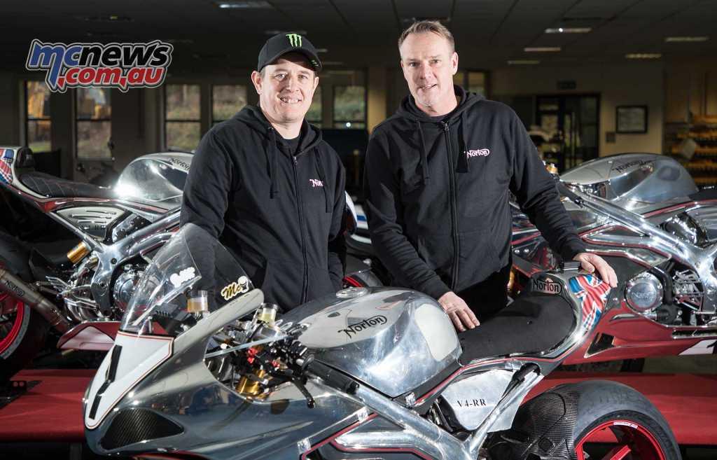 John McGuinness with Stuart Garner - Norton - 2018 Isle of Man TT